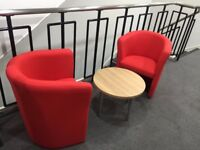 2 x tub chairs for Receptions, Waiting Rooms & Coffee Lounges - Collection Only - (Hardly Used)