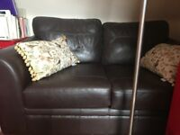 Next Brown Real Leather Sofa 2 Seater