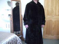 Dark Brown Long Faux Fur Coat - Size 10