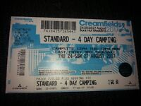 Creamfields 4 day camping ticket music festival