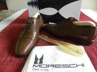 Moreschi Itailian Cuoio, Brown croc print leather smart casual shoes soft leather. Size 6.