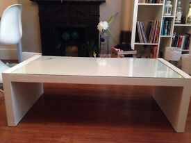 IKEA WHITE COFFEE TABLE WITH GLASS TOP.