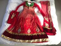 Asian Apple Red/Peach Gown Dress Velvet Flair
