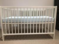IKEA white cot with mattress