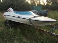 Marina speed boat 70hp Johnson outboard motor engine on trailer