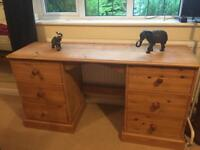 Solid pine six drawer twin pedestal dressing table