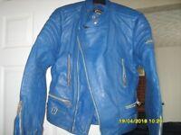 BLUE LEATHER MOTOR BIKE JACKET