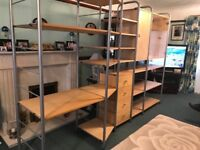 IKEA shelving unit includes desk, drawer unit, cupboard and display cabinet. Excellent condition.