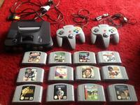N64 console, works perfect. 2 controllers, 12 games and a jumper pak