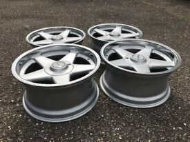 Azev A deep dish alloy wheels, 17inch 4x100 staggered, BMW e30 Vw slammed stance