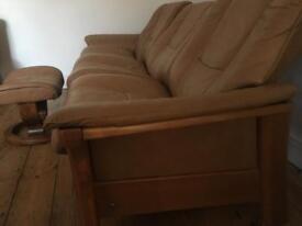 Sofa ekornes 3 seat scandi tan leather