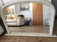 Off white overmantle mirror
