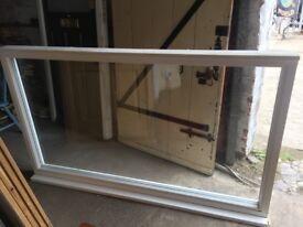 Large bespoke wooden fixed window H:113cm x W:189cm