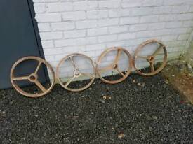 Four cast iron wheels shepherds hut garden farm feature tractor