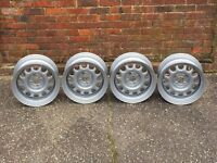Banded steel wheels, genuine Vw wheels, 4x100, staggered RARE caddy, golf polo