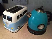 Blue Cordless Kettle and Campervan Style Toaster