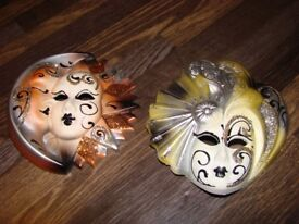 2 Ceramic Decorative Masks to hang on your bedroom wall. Brand new.