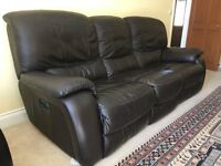 3 Seat Soft Leather Double Electric Reclining Sofa - Brown