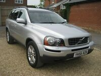 Volvo XC90 2.4 D5 Geartronic 4 x 4. 2006 7 seater in metallic silver with black leather