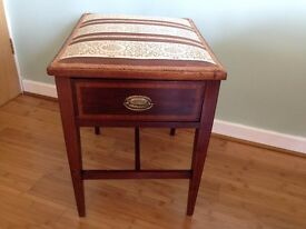 Antique piano Stool with storage draw, has patent number. Solid mahogany with inlaid detail. vgc