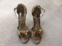 NEXT. Gold Satin Evening Shoes for sale