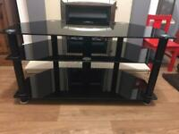 TV stand – Black glass – fits 40inch TV.