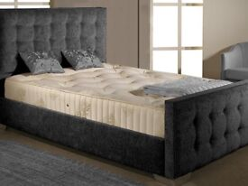 Brand New Kingsize Charcoal Fabric Bed with Mattress
