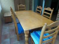 Solid pine tables and 6 chairs