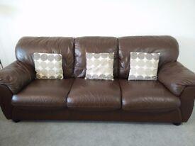 Chocolate brown leather sofa set (3 + 2)