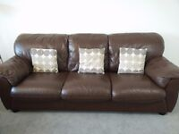 Chocolate brown leather sofa set (3 + 2)