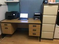 Oak Office Desk - 5 drawers and very sturdy