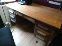 Large solid wood old desk with drawers