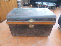 RUSTIC TRAVELLING STEEL JAPANNED TRUNK/STORAGE CHEST