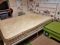Double metal bed with comfy mattress