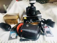 Nikon D3200 camera kit with lenses and accessories