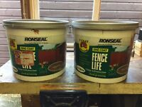 2x 12.5 Ltrs RONSEAL ONE COAT FENCE LIFE SHED & FENCE PAINT - STAIN / MEDIUM OAK