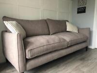 Ex display large beige linen 3 seater sofa
