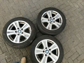 """Genuine 16"""" BMW 1 series complete set of 4 alloy wheels with tyres"""