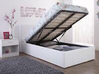 Brand New White Leather Single Ottoman Storage Bed