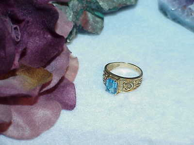 10K 1.00ct Emerald cut Blue Topaz Ring Size 7 Hearts Byzantine Design Vintage