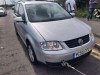 2005 Volkswagen Touran 1.9 diesel, starts but clutch has gone, selling as spares or repair, MOT unti