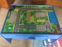 Wooden child's desk with road map design