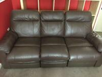 Chocolate brown recliner leather sofa