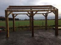 new 4.8m x 3m wooden car port / hot tub / bbq shelter