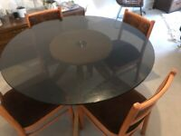 Amber glass table and chairs