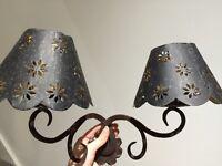 Brass antique lampshades x2
