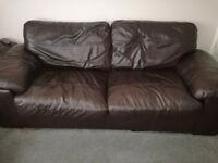 Brown leather sofa arm chair and puff