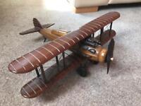 Vintage Wooden model ornament biplane aeroplane