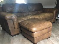 DFS 3 seater 100% Italian tan leather - can deliver