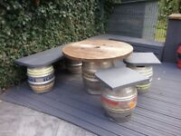 'Keg' Table, Bench and 2 Stools